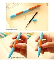 Wholesale Push open gel pens Candy color body black ink Slide pen Canetas escolar zakka Office supplies material school