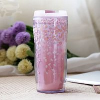 Wholesale Double Wall Plastic Coffee Cup Pink Cherry Blossom Cup Thermos Coffee Travel Mug Thermo Vacuum Flask Thermoses Garrafa Termica