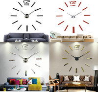 Wholesale DIY Large clock cm mirror Mental D Big Size Home Decor Stickers Wall Clocks For bedroom Living Room Party Decal Decoration