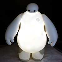 Wholesale Super Marines Baymax Night Lamp LED Glow Big White Night Light Children s day Christmas Gifts Night Lamp Dia H20CM