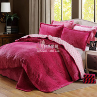 Wholesale Warm Trapunta Invernale Seta Quilted Bedsheet Coverlets Flannel Handmade Cotton Quilts