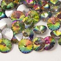 al por mayor medio vitrail-Cristal Punto Volver Rhinestone, Chaton Rhinestone para la joyería DIY, tallado Cone, Crystal Vitrail Medium, 14mm