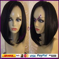 bank cut - Virgin Brazilian Yaki Straight Human Hair Bob Wig With Baby Hair Glueless Full Lace Wigs Cut Bob Lace Front Wigs In Stock
