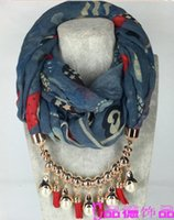 Wholesale LHB color metal alloy necklace scarf Cotton hemp Pearl tassels bead Pendant Scarves