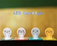 Wholesale Cute LED Credit Card Light Lamp Bulb Power Saving Night Lights portable light Pocket LED light with face expressions