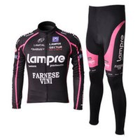 best thermal clothing - variety of styles Lampre thermal long sleeve cycling jersey and pants set mountain bike riding clothing best sportswear