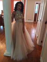 Wholesale 2016 Sexy Two Pieces Prom Dresses High Neck Beaded Top Champagne Tulle Floor Length Formal Party Dresses Evening Gowns