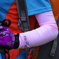 Wholesale 2015 Three Color Cooling Lycra Arm Sleeves Sun Protective UV Cover Bag Piars Same Color Cycling Arm Warmers