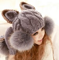 Wholesale Faux Fur Caps Cat Ear Shaped Women Hats Winter Warm Knitted Women Bomber Hats Casual Caps For Women
