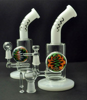 color flame - Borosilicate Grace Mini Glass Bong Flame Colored Spiral Print Slitted Down Stem Oil Rigs Waterpipes with Jade Color HYC