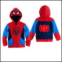 character appliques - 2015 kids spiderman hoodies boys superhero hooded coat cartoon super hero spiderman printing cosplay outwear clothing J092301