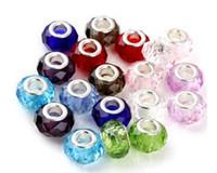 al por mayor grano tornillo de murano-925 Tornillo de plata fascinante facetadas de cristal de Murano Beads Fit Pandora encanto de joyería de las pulseras de los collares de cristal perlas sueltas