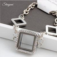 Cheap 10pcs lot Free Shipping 2015 Floating Locket Charms Bracelet Bangles For Women Men Magnetic Glass Living Memory Locket Bracelet Jewelry
