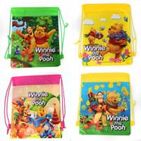 Wholesale 2014 Children Cartoon Bag Drawstring Kids Backpack School Winnie the Pooh Bags Non woven Material Mochilas school kids