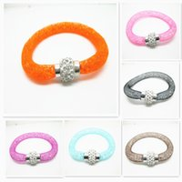 Wholesale 2015 Handmade New Promotion Stardust Mesh Double Bracelets With Crystal stones Filled Magnetic Clasp Charm Bracelets Bangles For Women