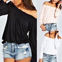 off the shoulder tops - Boho Women Ladies Kylie Shirred Off The Shoulder Tops Long Sleeve Blouse T Shirt