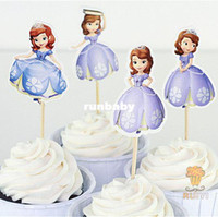 baby shower party supplies - 24pcs Sophia the first princess cake toppers picks for kids birthday favors party decorations supplies festa baby shower AW