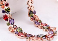 Wholesale zircon AAA colorful necklace elegant top quality necklace concise classic necklace korean style allergy free necklace LS084