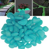 Wholesale novelty solar energy glow pebble stone Glow in the Dark DIY Decorative Gravel Stones For Fish Tank Luminous Stone Color