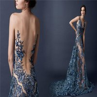 Wholesale Sexy Paolo Sebastian Evening Dresses Blue Appliques Sequins Real Images Sheer Tulle Sweep Train Celebrity Dress Prom Gowns