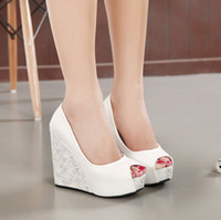 Wholesale New white wedge heel bride wedding shoes blue peep toe high heel platform bridesmaid shoes colors size to