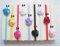 Wholesale Baby Rose Flowers Headbands Rosette Baby Hair Accessories Satin Ribbon Hair Band Soft Stretchy Satin Headwear Hair Bows