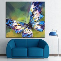Wholesale 100 Handpainted Abstract Oil Painting Animal Wall Art on Canvas for Home Decoration pc Blue And White Butterfly