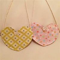 Wholesale Kids Girls Cotton Fabric Heart Bow Hangbags Baby Girl Cute Mini Cross body Bag Children s Bag