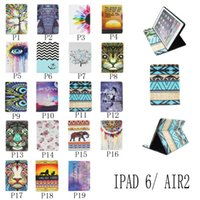 Wholesale New Paint Unique Tablet Cases For iPad Mini iPad Air1 Air2 Smart Cover Stand Case With Card Slot Holder Pu Leather Pouch