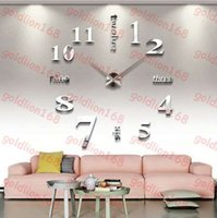 Wholesale Brand New Home decoration wall clocks Big Digital mirror wall clock Modern design large size wall clocks DIY wall sticker unique gift