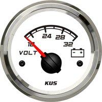 Wholesale 52mm voltmeter gauge KF13108 white face v stainless steel bezel for car truck marine boat yatch LED backlight