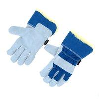 cotton working glove - 2PCS Winter Thermal Work Gloves Thickening Working Gloves Leather Cotton Gloves Wear Resistant Gloves For Men Women Y1458