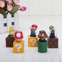 Wholesale Super Mario Toad Figure - SALE 5pcs set Super Mario Bros Mario Luigi mushroom Goomba Toad Yoshi PVC Action Figures Toy