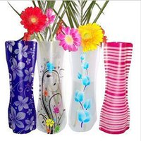 Wholesale Folding Foldable Plastic PVC Flower Vase Home Decoration Mix Various Patterns and Styles friendly and save space