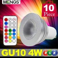 MENGS 10Pcs por paquete GU10 4W LED RGB Luz 2 Millones de colores cambiando SMD LEDs Bombilla de proyector LED con IR