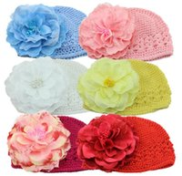 Wholesale 6 Color Cute Christmas Toddler Baby Boys Girls Kufi Hats with Big Peony Kids Winter Crochet Earflaps Caps Fur Thicken Cotton Warm K2861