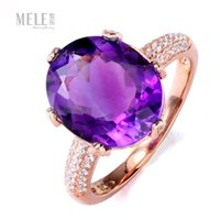 Wholesale Genuine natural amethyst gemstone silver rings simple and stylish South African wild female ring