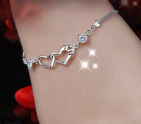 Wholesale Trendy Heart Jewelry Rhinestone Bracelet Bangles Silver Plated Jewelry Accessories For Women pulceras mujer