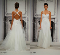 Wholesale Newest Arrival Fashion Designer Little Floral Beaded Spaghetti straps Spring Garden Wedding Dresses Crisscross Straps Back LV335