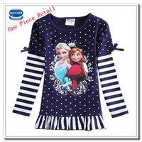 Wholesale Retail Frozen Girls T shirt Stripes T shirt Princess Anna Elsa Printing Cartoon T shirt Girls Sweatshirts Cotton F5360D