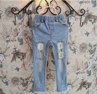 girls skinny jeans - 2015 Spring Cool Girls Washed Denim Broken Skinny Jeans Cotton Leisure Trousers Childs Clothing Pencil Pants Kids Blue cm K3659