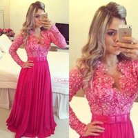 Wholesale Fuchsia Vintage V Neck A line Formal Evening Gowns With Long Sleeves Chiffon Fall Sequins Beads Maxi Vestidos Prom Celebrity Dress