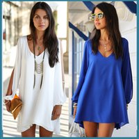 big size dresses women - New Vacation Beach Chiffion Big Neck Long Split Cool Sleeves Pencil Big Size Irregular Bottom Women Dress