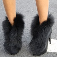 Wholesale 2014 Winter Fashion Girls Low Leather Boots Fur Pointed Toes High Heel Ladies Warm Shoes Black