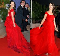 berenice bejo - Berenice Bejo Red Chiffon Evening Gowns Celebrity Dresses Charming Cap Sleeves Bow Back Tank Straps Sweep Train Red Carpet Prom Dress