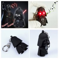Wholesale black knight Star Wars ring Keychain Minifigures clone troopers Darth Vader key chain White soldiers with light and voice LED Key Pendant
