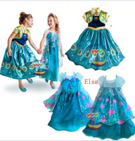 gift for children day - Frozen Fever Queen Elsa Anna Princess Birthday Party Dresses Costumes Kids Children girl gift Sequin Dress Clothing for Halloween Saint Day