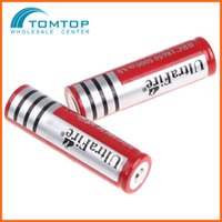 Wholesale 2 UltraFire Rechargeable Li ion Battery mAh Red for LED Flashlight Torch Light built in battery V