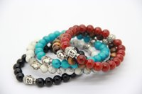 Wholesale 2015 Hot Sale Exquisite Buddha Bracelets With Natural Red black Agate Yellow Tiger Eye White and Turqoise stone