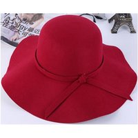 Wholesale 2015 autumn and winter wool Hepburn style large brimmed hat large brimmed hats Ms